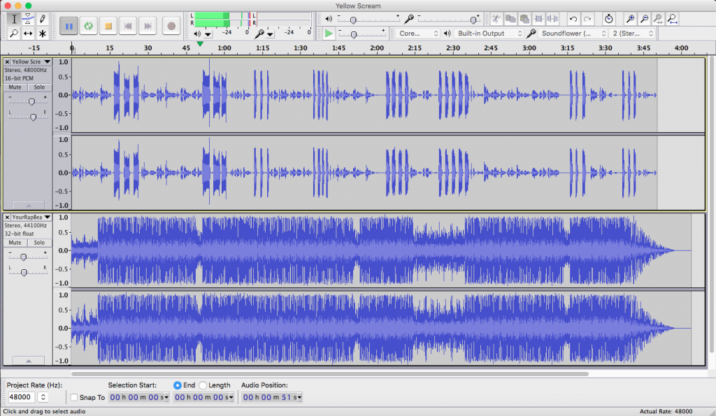 image of Audacity audio editing screen