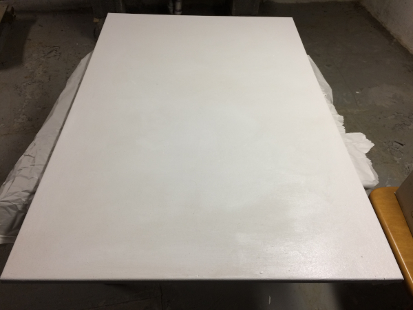 stretched canvas, coated with primer